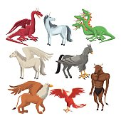 colorful set animal greek mythological creatures