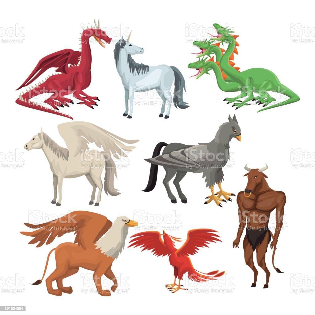 colorful set animal greek mythological creatures vector art illustration