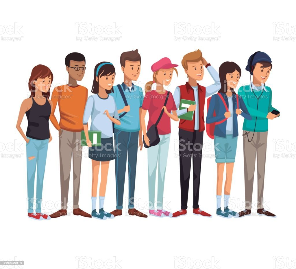 colorful set group of students teenagers standing vector art illustration