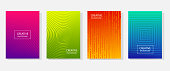 Colorful set of abstract dynamic modern bright banners with different texture, template cover design. Space for your text with geometric patterns. Colored halftone gradient. Vector illustration