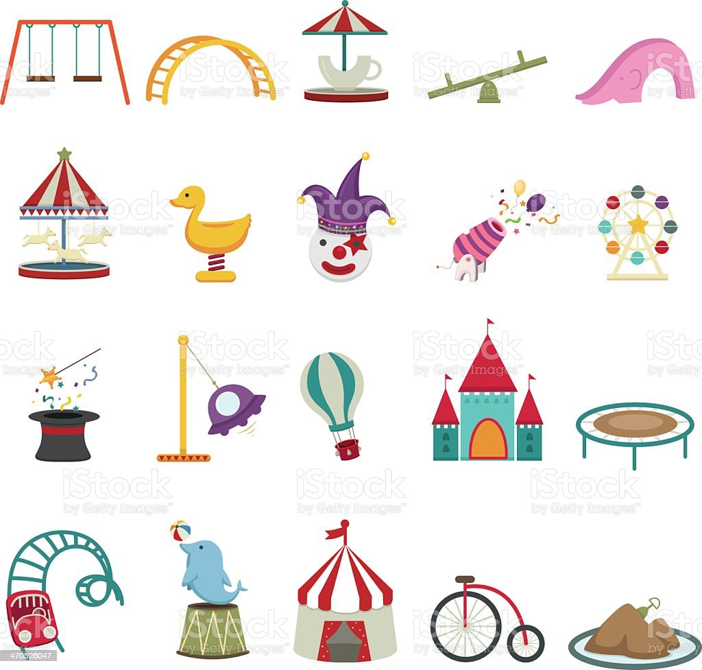 Colorful set of amusement park icons royalty-free stock vector art