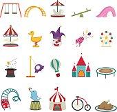 Colorful set of amusement park icons