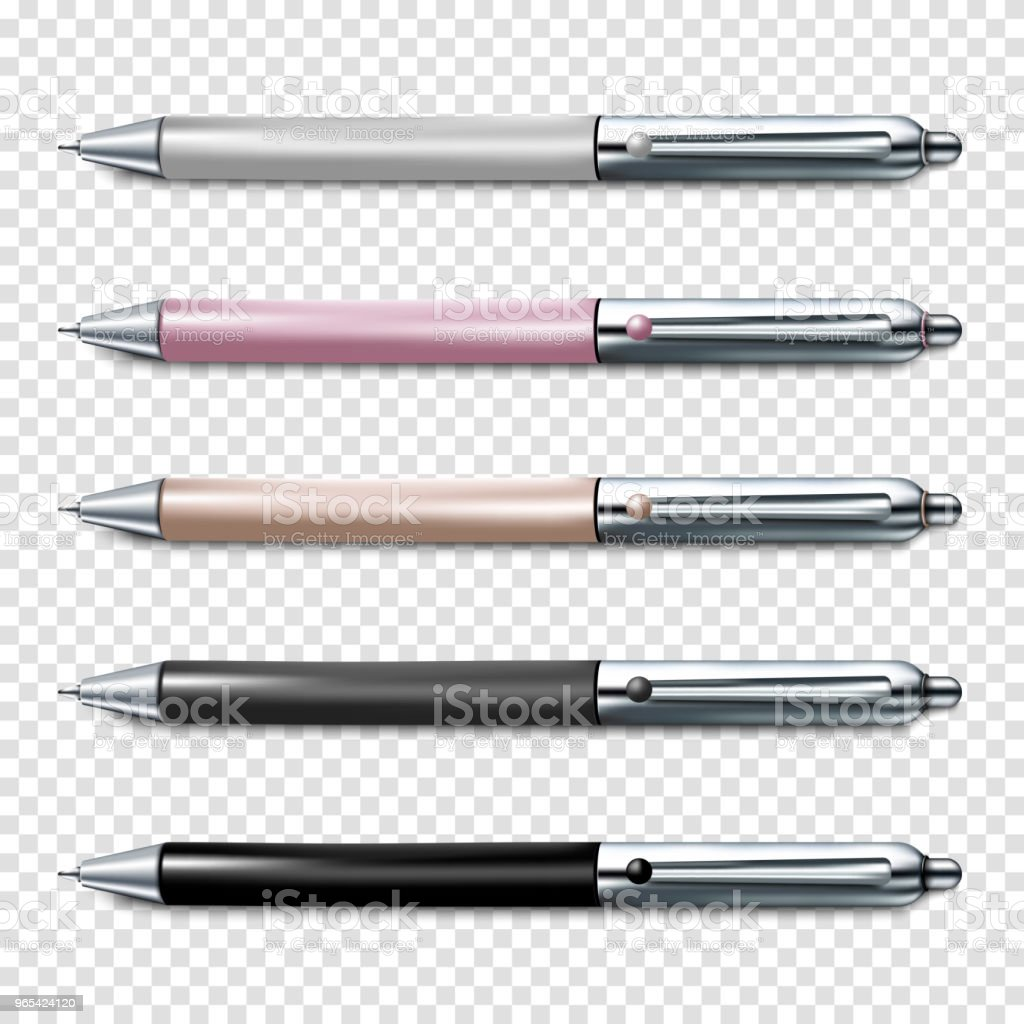 Colorful set of ballpoint pen isolated on transparent background. Corporate Identity And Branding Stationery Template. Vector illustration royalty-free colorful set of ballpoint pen isolated on transparent background corporate identity and branding stationery template vector illustration stock vector art & more images of automatic