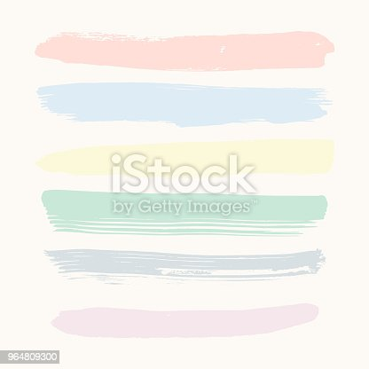 Colorful Set Of Brush Traces With Rough Edges Vector Isolated Stock Vector Art & More Images of Abstract 964809300