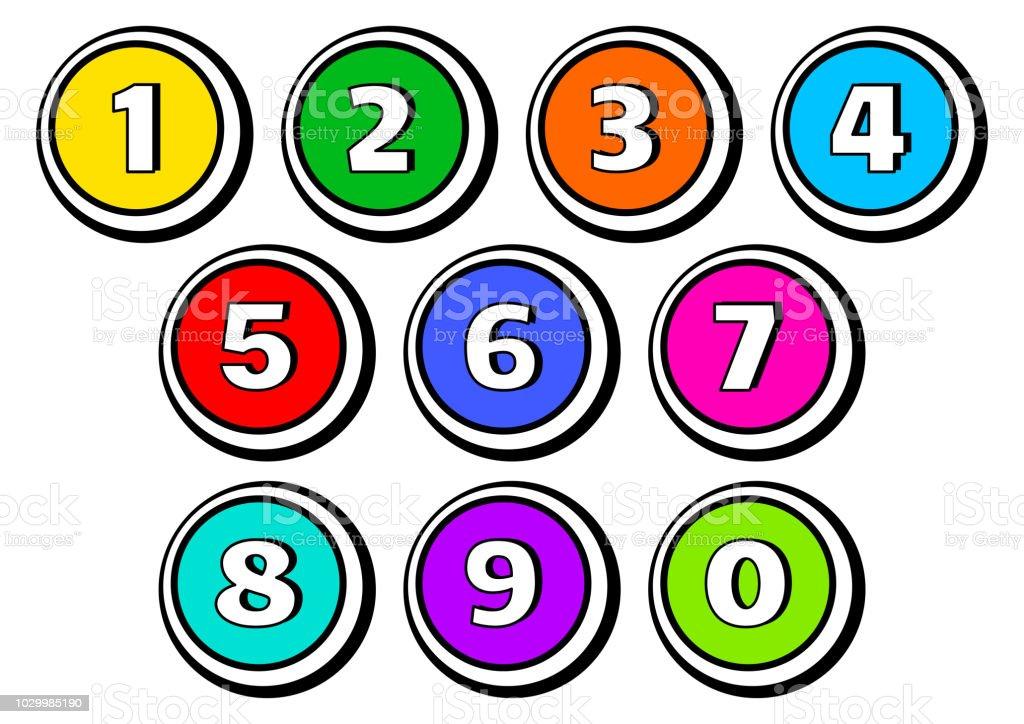 1 から 0 までの数字ボタンのカラフルなセットベクトル図 - まぶしいの ...