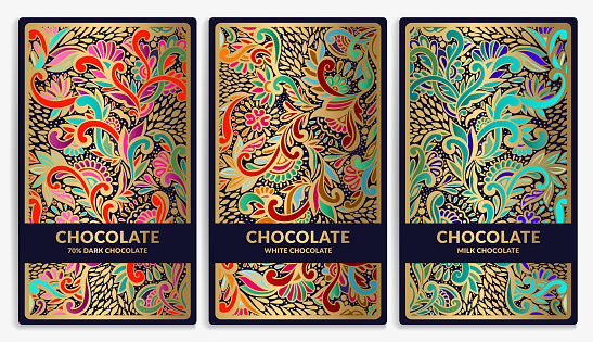Colorful set of chocolate bar packaging design in abstract style. Vector luxury template with ornament elements. Can be used for background and wallpaper. Great for food and drink package types.