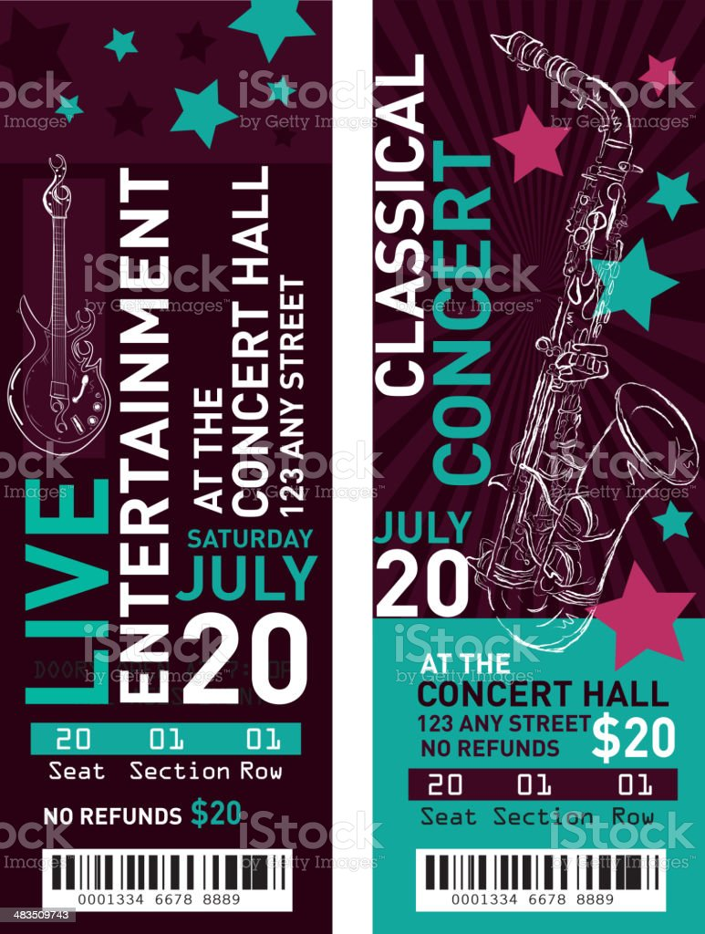 Colorful set of classical entertainment concert ticket templates royalty-free colorful set of classical entertainment concert ticket templates stok vektör sanatı & barkod'nin daha fazla görseli