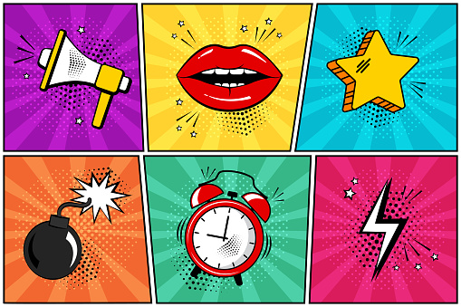 Colorful set of comic icon in pop art style. Megaphone, lips, star, bomb, alarm clock, lightning. Vector clipart