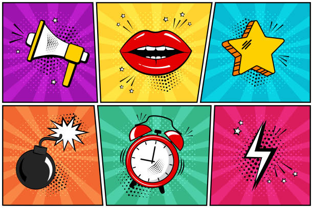 colorful set of comic icon in pop art style. megaphone, lips, star, bomb, alarm clock, lightning. vector - журнал комиксов stock illustrations