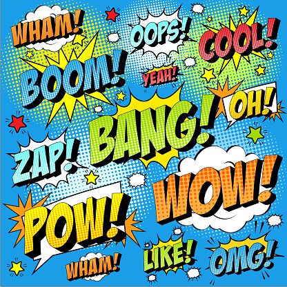 Colorful set of comic icon in pop art style. Wham, Wow, Oops, Cool, Yeah, Boom, Bang, Zap, Oh, Pow, Wow, Omg, Like.