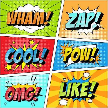 Colorful set of comic icon in pop art style. Wham, Zap, Cool, Pow, Omg, Like.