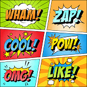 istock Colorful set of comic icon in pop art style. Wham, Zap, Cool, Pow, Omg, Like. 1210391629