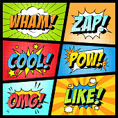 istock Colorful set of comic icon in pop art style. Wham, Zap, Cool, Pow, Omg, Like. 1255625333