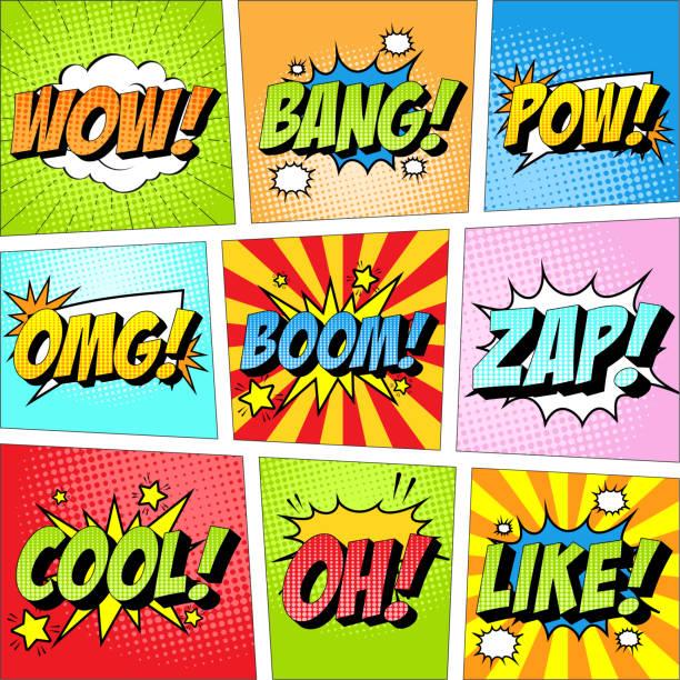 bildbanksillustrationer, clip art samt tecknat material och ikoner med färgstark uppsättning komiska ikonen i popkonst stil. wow, bang, pow, omg, boom, zap, cool, åh, liksom. - serier