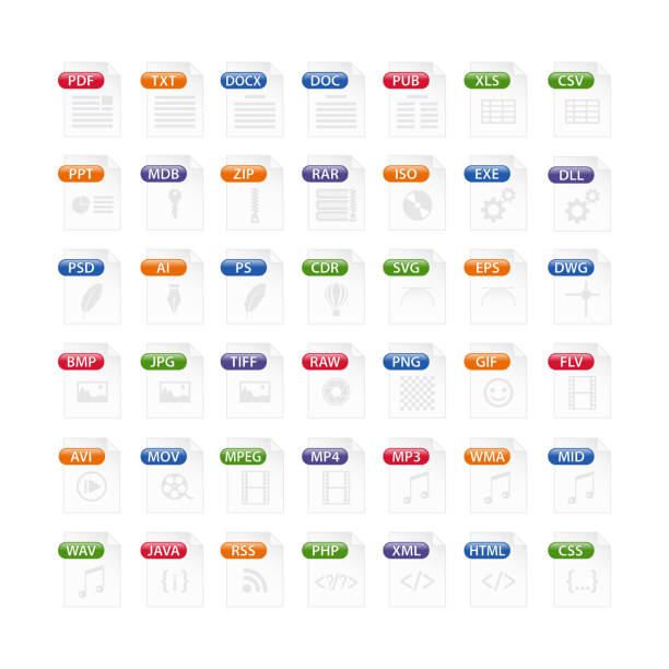 colorful set of file type icons. file format icon set in color, files symbols buttons colorful set of file type icons. file format icon set in color, files symbols buttons svg stock illustrations