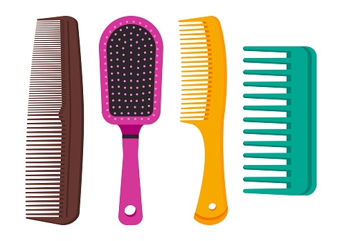 Colorful set of hair combs. Vector illustration