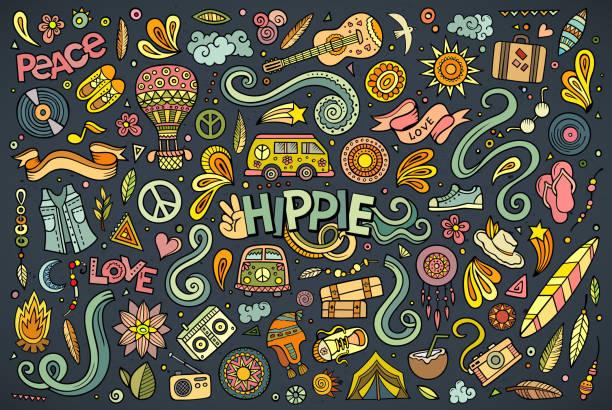 ilustrações de stock, clip art, desenhos animados e ícones de hippie colorido conjunto de objectos - balão enfeite