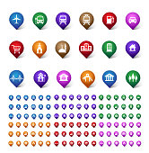 Colorful Set of Location, Places, Travel and Destination Pin Icons and Buttons for Navigation and Maps. Isolated Vector Illustration.