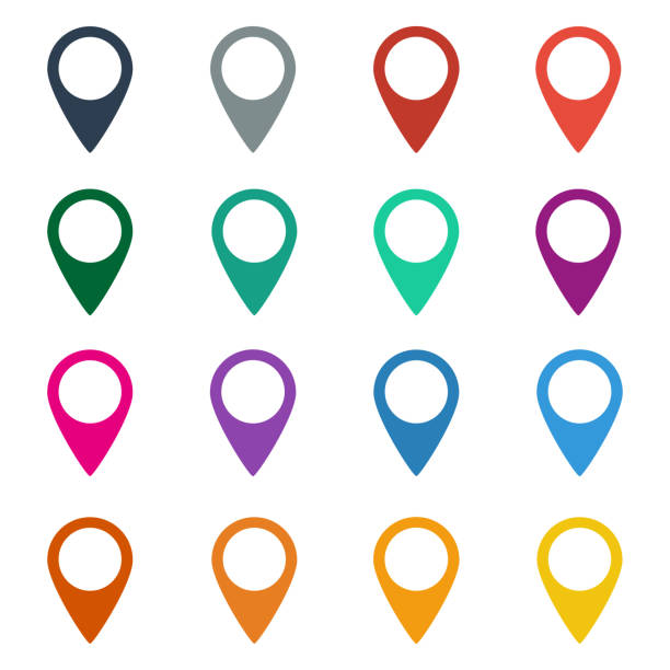 Colorful set of map markers. Colorful set of map markers on white background. Vector illustration pointing stock illustrations