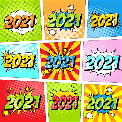 Colorful set of New Year 2021 comic icon in pop art style.