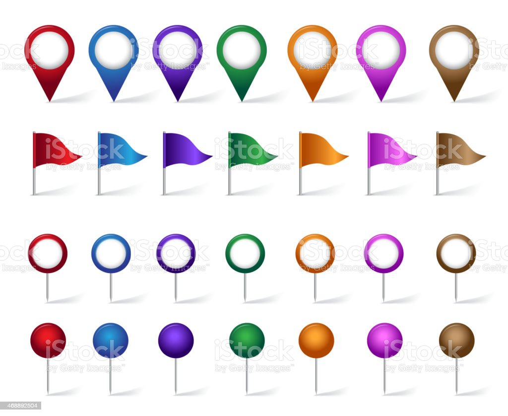 Colorful set of pin icons in many different styles vector art illustration