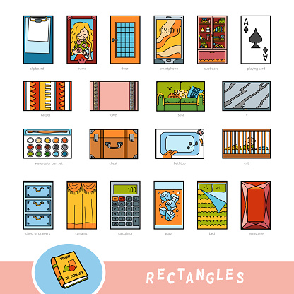 Colorful Set Of Rectangle Shape Objects Visual Dictionary