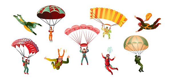 Collection set of various skydivers parachutist, paratrooper, wingsuit, paraglider. Skydiving concept. Colorful vector flat isolated icons set on white background