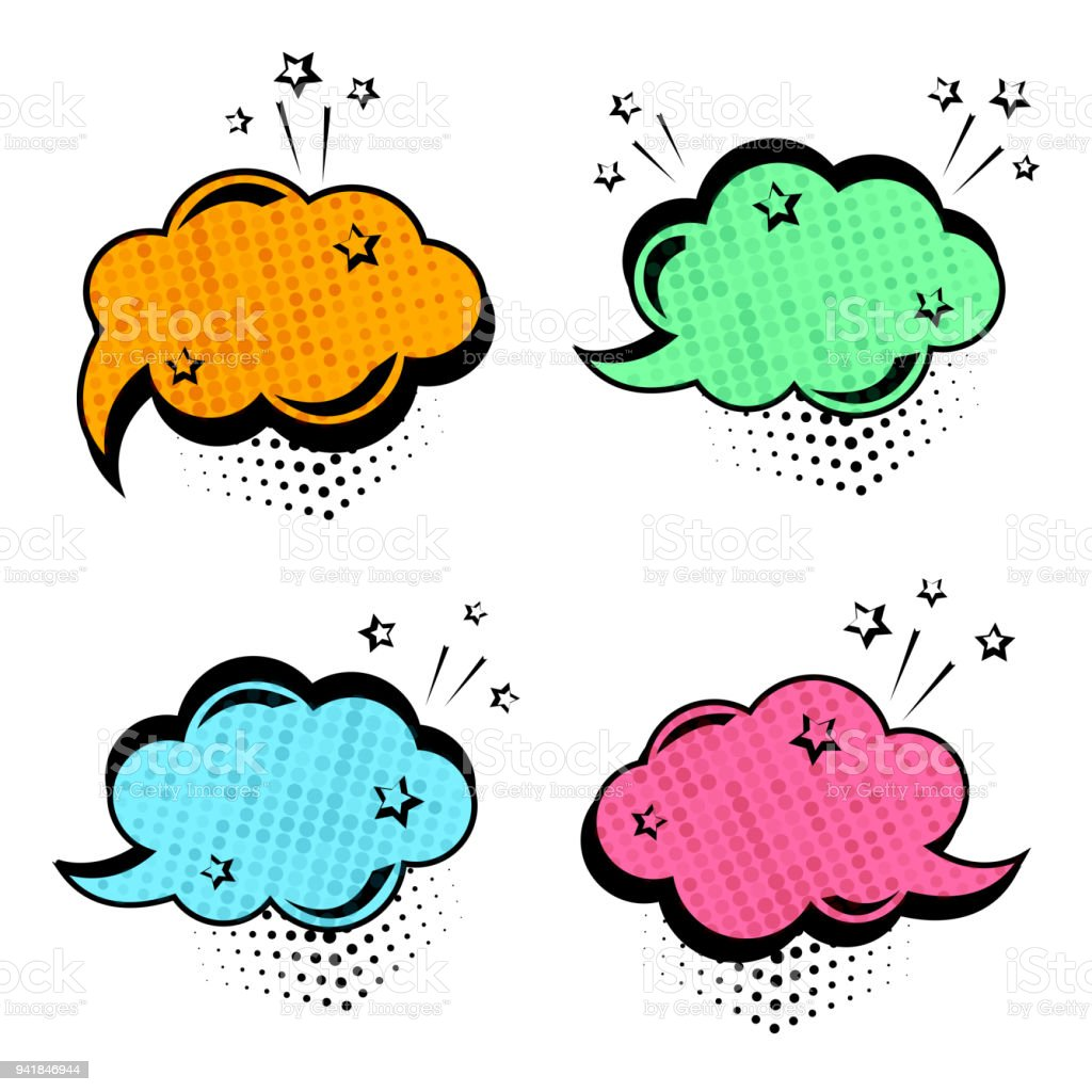 Colorful set of speech bubbles. Comic sound effects in pop art style. Vector illustration vector art illustration