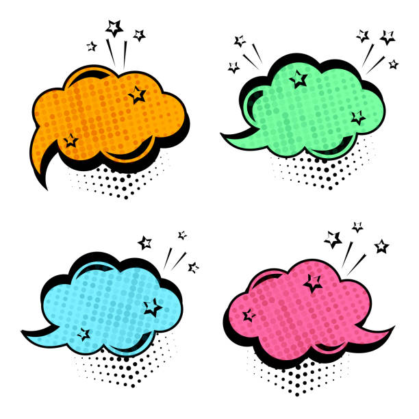 colorful set of speech bubbles. comic sound effects in pop art style. vector illustration - sound effects stock illustrations, clip art, cartoons, & icons