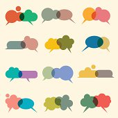 A colorful set of speech bubbles with different shapes