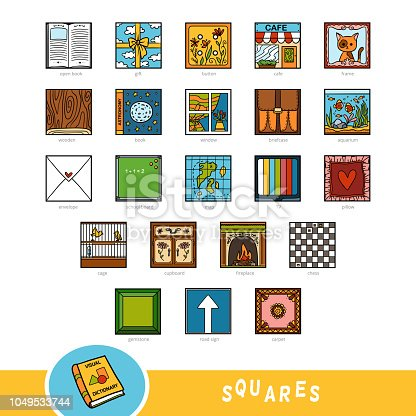 Colorful Set Of Square Shape Objects Visual Dictionary For ...  Colorful Set Of...