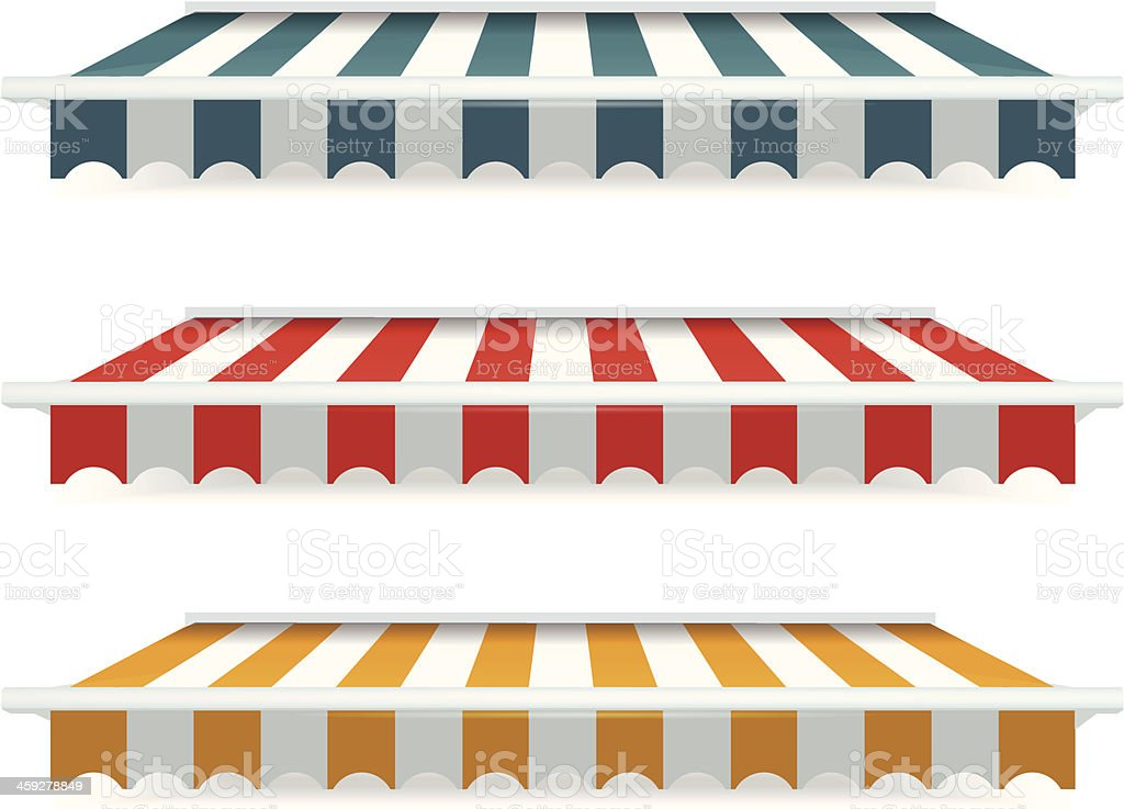 Colorful set of striped awnings vector art illustration