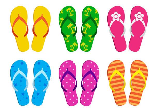stockillustraties, clipart, cartoons en iconen met kleurrijke set van zomer flip flops. vectorillustratie - slipper