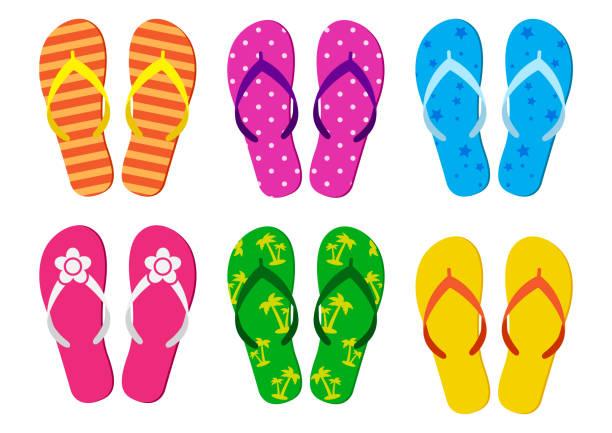 stockillustraties, clipart, cartoons en iconen met kleurrijke set van zomer flip flops. vectorillustratie - sandaal