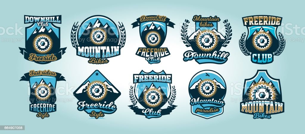 Colorful set of symbols, emblems, bicycle sprocket mountains in the background, isolated vector illustration. Club downhill, freeride.