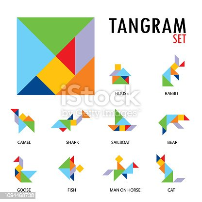 istock Colorful set of tangram game icons made with geometry shapes in abstract style, includes animal, vector illustration. 1094468738