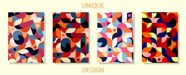 Colorful set of unique design covers for your projects