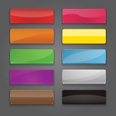 Colorful set of web banner buttons with different gloss reflections.