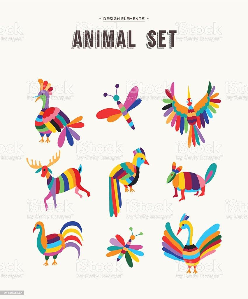 Colorful set of wild animal icon illustrations vector art illustration