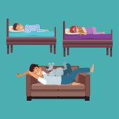 colorful set scene man sleep in sofa and children in her beds