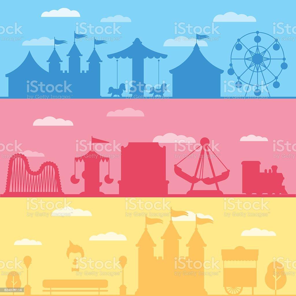 Colorful set silhouette of carnival funfair and amusement park vector art illustration