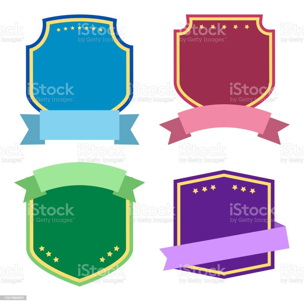 Gabarit de jeu, coloré du label avec des rubans. Illustration vectorielle - Illustration vectorielle