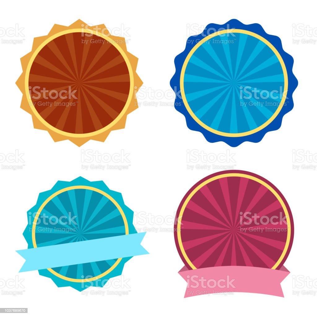 Ensemble coloré, modèle de l'étiquette ronde avec des rubans. Illustration vectorielle - Illustration vectorielle
