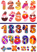 Two colorful sets of vector numbers or digits, one decorated as cakes for a kids birthday party and the second with geometric patterns including maths icons for calculation
