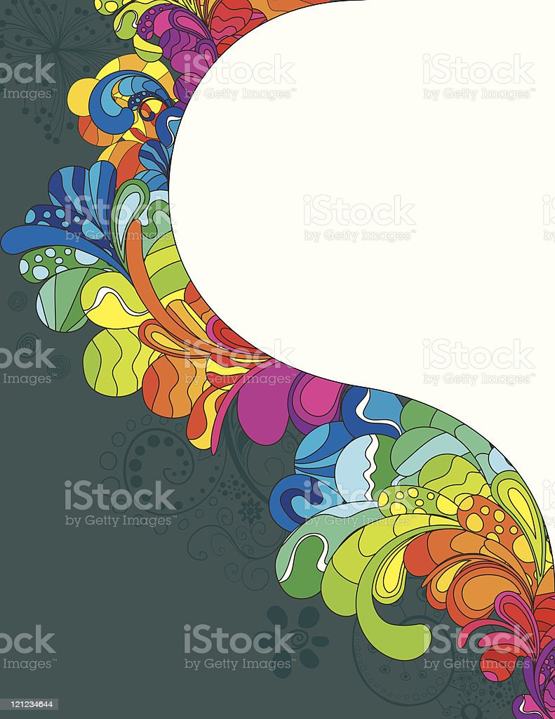 A colorful seventies patterned border template vector art illustration
