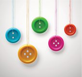 Colorful sewing buttons hanging on threads. Illustration contains transparency and blending effects, eps 10