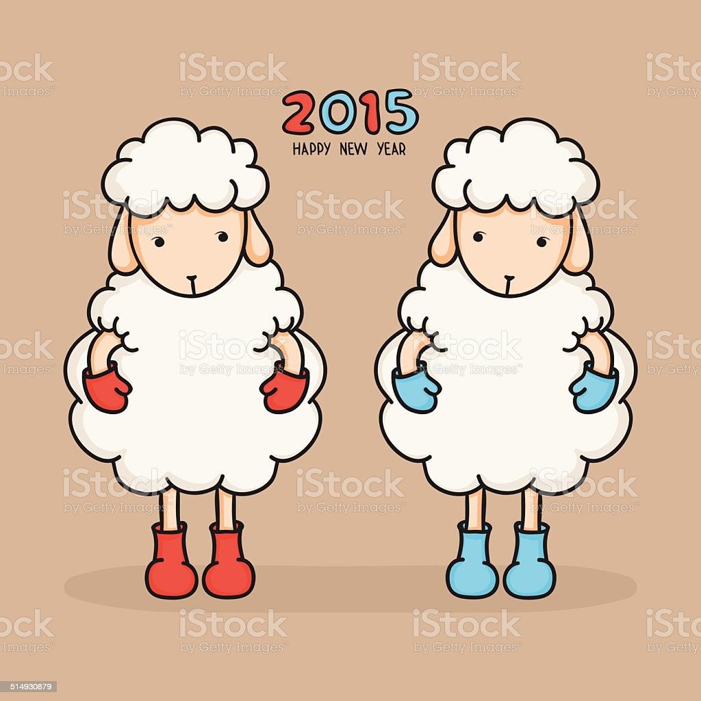 Colorful sheep in boots happy new year 2015 greeting card stock colorful sheep in boots happy new year 2015 greeting card royalty free m4hsunfo