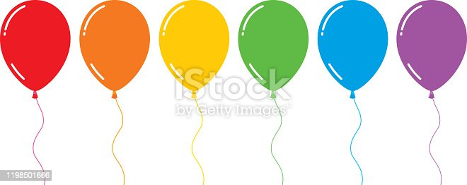 Vector illustration of six shiny flat rainbow colored balloons.