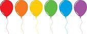 Vector illustration of six shiny flat rainbow colored balloons.