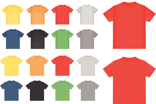 Colorful shirts pattern in rows